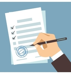 Male hand signing document man writing on paper vector