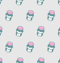 Monkey Brains Gorilla seamless pattern background vector image vector image
