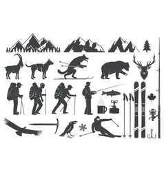 mountaineering hiking climbing fishing skiing vector image