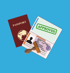 passport with approved stamp vector image vector image