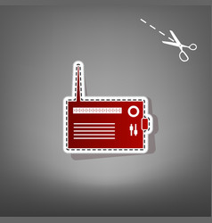 Radio sign red icon with for vector