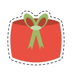 Red gift box decoration celebration line dotted vector