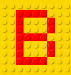 red letter b in yellow plastic construction kit vector image