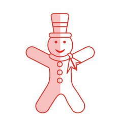 red shading silhouette of gingerbread man with vector image
