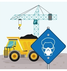 Road sing man mask dump truck and crane vector