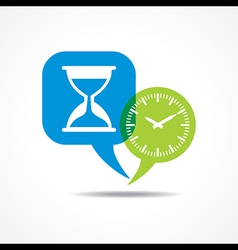 Sand watch and clock in message bubble vector image