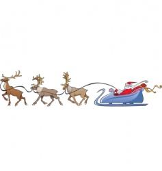 Santa Claus reindeer sleigh vector image vector image
