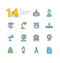School and education - thick line icons set vector