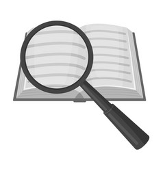 Seraching of information in the book icon in vector
