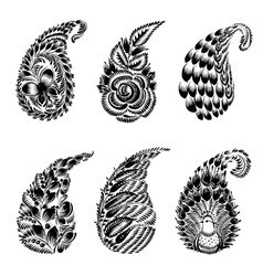 set of black silhouette paisley vector image