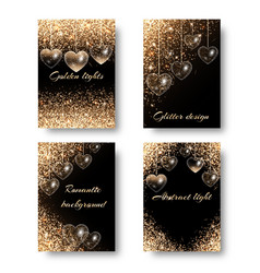 set of festive backgrounds with hearts vector image vector image