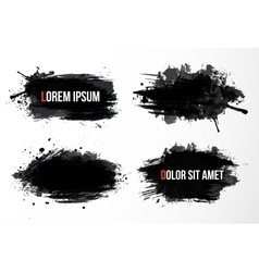 Set of four big black grunge spots vector