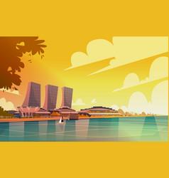 Singapore city view skyscraper background skyline vector