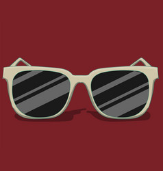 Sunglasses in white colors lie on a red background vector