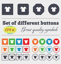 T-shirt clothes icon sign big set of colorful vector