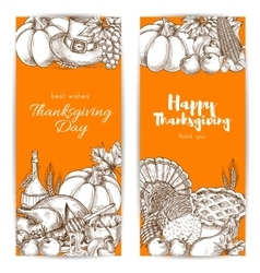 Thanksgiving day greeting banners set vector image