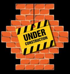 Under construction warning over brick wall concept vector