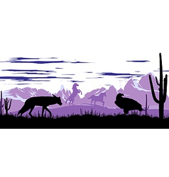 Wild horses coyote and eagle in the steppes of vector image
