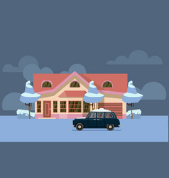 winter country house flat pink home with vector image vector image