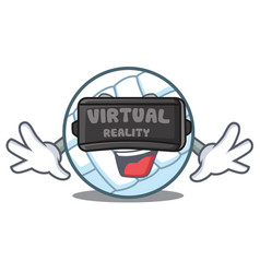 with virtual reality volley ball character cartoon vector image