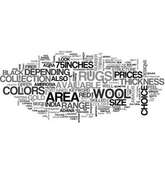 wool area rugs text word cloud concept vector image