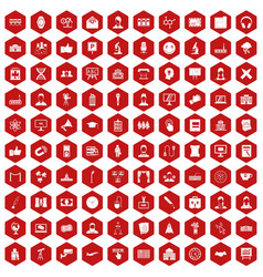 100 conference icons hexagon red vector