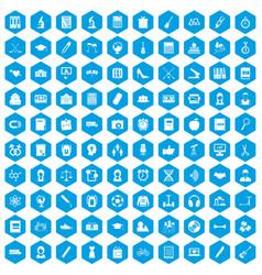 100 hi-school icons set blue vector