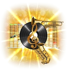 Music in flash treble clef vinyl sax and trumpet vector