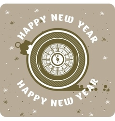 Happy New Year Clock vector image