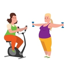 Fat people fitness gym vector