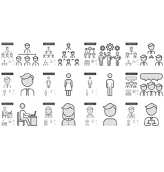 Human resources line icon set vector