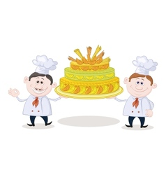 Cooks with holiday cake vector