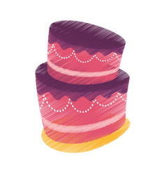 drawing cake dessert candy vector image