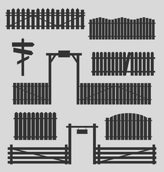 Set of wooden fences with gates vector
