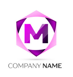 letter m symbol in the colorful hexagonal vector image