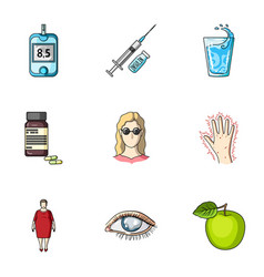 A set of icons about diabetes mellitus symptoms vector