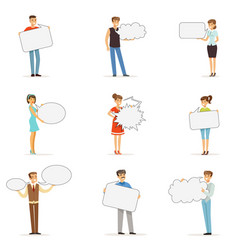 Young man and woman standing with blank speech vector
