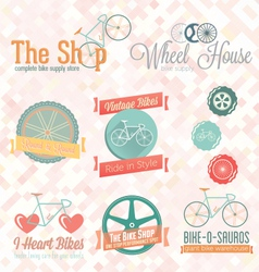 Retro bike shop labels and icons vector