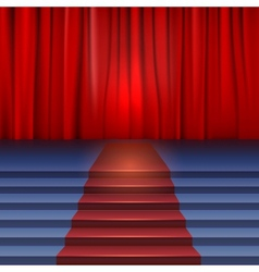 Theater stage with red curtain and carpet vector