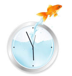 Goldfish jumping from clock vector