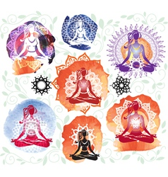 Silhouette of woman meditating in lotus position vector image