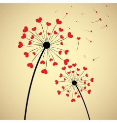 Dandelion with hearts vector