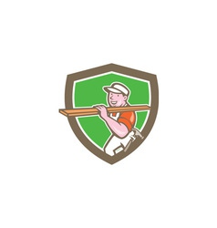 Builder carpenter carrying timber shield cartoon vector