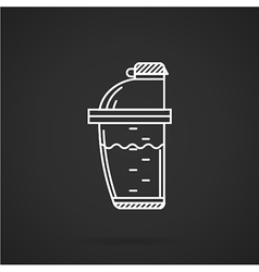 White line icon for supplements shaker vector