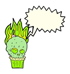 Cartoon spooky skull cupcake with speech bubble vector