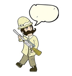 Cartoon big game hunter with speech bubble vector