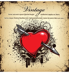 heart with grunge vector image