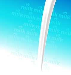Pour milk on blue background with milk text vector