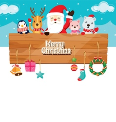 Santa claus animals ornaments with wood banner vector