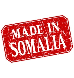 Made in somalia red square grunge stamp vector